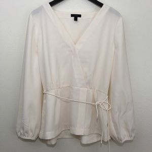 J. Crew | Long Sleeve Faux Wrap Crepe Blouse